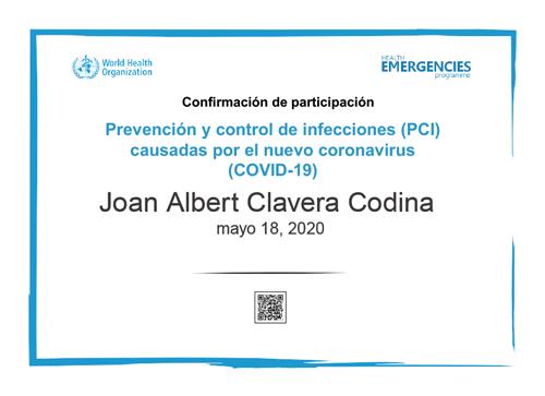 COVID19 CERTIFICADO DE PARTICIPACION PREVENCION Y CONTROL DE INFECCIONES
